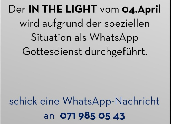 Whatsapp Gottesdienst am 4. April